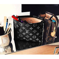 LV Louis Vuitton AAA Hot Selling Fashion Business Documents Handbag Briefcase for Men and Women LV pattern black