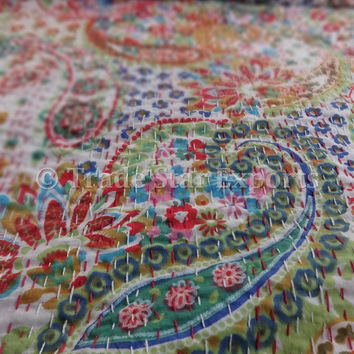 Red & Green Paisley Print Kantha Quilt on white base, Indian Cotton Bedspread, Queen Size Reversible Bed Sheet, Handmade Kantha Throw, India