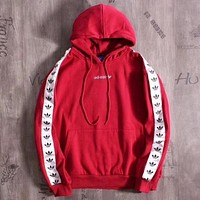 Adidas Originals Tnt Tape Pullover Hoodie In Red
