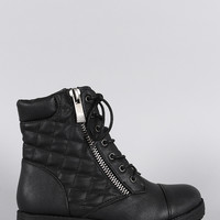 Bamboo Quilted Lace Up Combat Ankle Boots