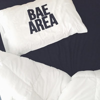 Bae Area Pillow White Pillow Case With Black Writing.