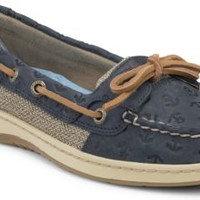 Sperry Top-Sider Angelfish Anchor Embossed Slip-On Boat Shoe NavyAnchorLeather, Size 5.5M  Women's Shoes