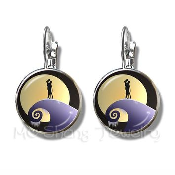 The Nightmare Before Christmas Pattern Stud Earrings 16mm Jack And Sally Glass Dome Earrings Halloween Gifts
