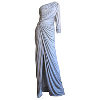 Gainni Versace Ruched Knotted One Shoulder Gown