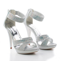 Abyss18 Open Toe Caged Strappy Sparkling Stiletto Heel Dress Sandal