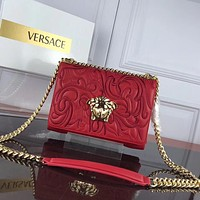 VERSACE WOMEN'S LEATHER EMBROIDERY INCLINED CHAIN SHOULDER BAG