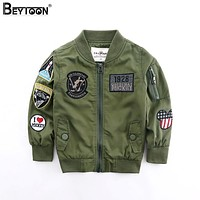 Beytoon 2Colors Toddler Boys Jacket Autumn Spring Army Style Kids Bomber Jacket For Boys Outerwear Tops Clothings