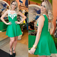 Green Cutout Lace Back Bandage Dress