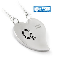 """Gay Gift - Heart Gay Pride Equality Necklace Engraved with """"Pride"""", 18"""" Chains Included"""