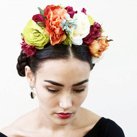 Frida Kahlo Flower Crown - Large, Colorful Day of the Dead Headband, Dia de los Muertos, Floral Crown, Headdress, Headpiece, Crown, Fiesta