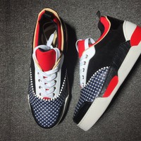 DCCK Christian Louboutin red low-top sneakers for men and women 90519