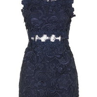 Structured Lace Bodycon Dress - Navy