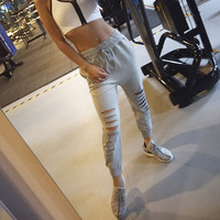 Casual Ripped Holes Pants Yoga Gym Jogging Sportswear [10320542278]