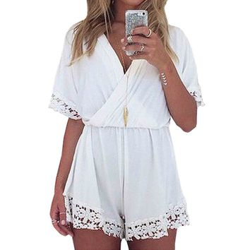 SUNNOW Women's Summer Loose Short Sleeve V Neck Lace Jumpsuit Rompers Playsuit (S)