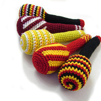 Soft cotton crochet toy, baby rattle, striped, black, red green, yellow, lightweight teether, Choose the one you like
