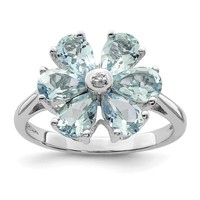 Sterling Silver Pear Light Aquamarine And Diamond Flower Ring