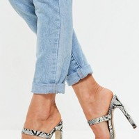 Missguided - White Snakeskin Toe Post Barely There Mules