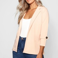 Plus Crepe Button Blazer | Boohoo