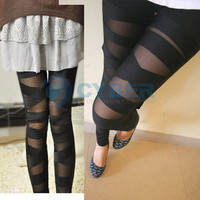 New Womens Ladies Sexy Slit Torn Ripped Slashed Color Leggings Tight Pant