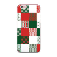 """Carolyn Greifeld """"Holiday Patchwork"""" Red Green iPhone Case"""