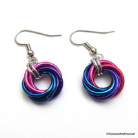 Bisexual pride earrings, love knot chainmail earrings, bi pride jewelry; pink, purple, blue