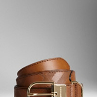 Embossed Check Leather Belt