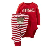 Infant Baby Boys Girls My First Christmas Print Clothing Set Long Sleeved Bodysuit+Striped Pants 2016 New Arrival Christmas Gift