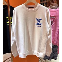 Louis Vuitton's latest top coat coat foam letter cloud simple couple round neck sweater