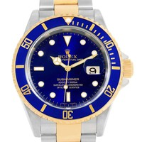 Rolex Submariner Steel Yellow Gold Blue Dial Bezel Automatic Watch 16613