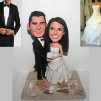 Beach Themed  wedding cake topper Custom wedding cake toppers head to toe personalized made from photo-1614