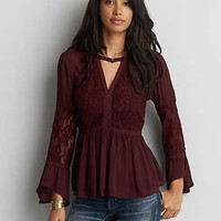 AEO Lace + Bar Swing Top, Lively Lilac
