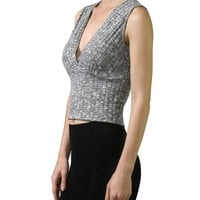 Sleeveless V-Neck Stretch Knit Crop Top