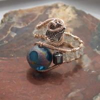 Copper Wire Wrapped Bead Ring Adjustable with Blue Frosted Dot Bead and Hematite