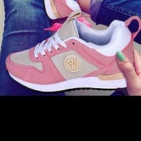 LV Louis Vuitton Hot Sale Women Men Fashionable Sport Shoes Couple Sneakers Pink/White