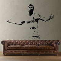 kik2859 Wall Decal Sticker Soccer football player Cristiano Ronaldo Real Madrid living room