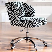 Zebra Jacquard Wingback Desk Chair