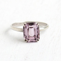 Vintage Sterling Silver Amethyst Purple Glass Stone Ring - 1940s Size 8 Art Deco Emerald Cut Stone Embossed Flowers Jewelry