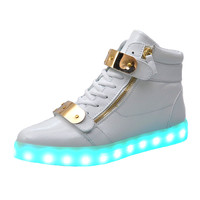 Men and women in hot sale high help led shoes 8 color fashion rechargeable light shoes White black flat light up shoes size36-44