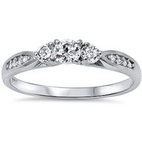 Cz Fashion Promise .925 Sterling Silver Ring Sizes 3-12