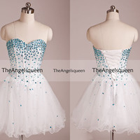 Sweetheart White and Blue Strapless Top All Beading Corset Organza Short Party Dress,Bridesmaid dresses,cocktail dresses,evening dresses