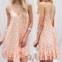 Orangepink Floral Print Backless Flounced Dress