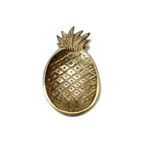 Vintage Brass Pineapple Trinket Dish Small Bowl Tray Mid Century Tropical Home Office Decor Housewarming Gift Change Keys Jewelry Holder