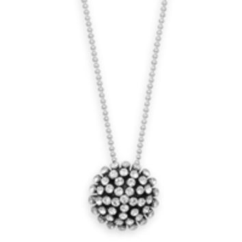 16in Necklace with Oxidized Domed Crystal Pendant