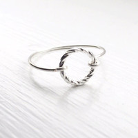 SILVER circle ring,twisted circle ring,non adjustable,unison ring,halo ring,elegant ring,hoop ring,eternity rings,dainty jewelry,full circle