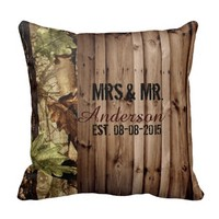 rustic barn wood western country Camo Wedding mr and mr pillow