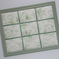Kensington Garden Toile fabric Sage Framed Memo Board