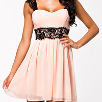 Pink Lace Strap Backless Pleated Dress - Sheinside.com