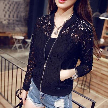 Hollow Out Crochet Lace Long Sleeve Cardigan Jacket Coat