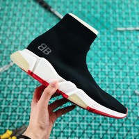 """Balenciaga Stretch Black Knit Speed Trainers With Grey """"BB"""" Sneaker - Best Online Sale"""