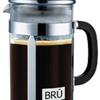 Classic French Press ~ BRU USA Coffee & Tea Maker | Stainless Steel - DOUBLE Screen Filter & Heat Resistant Glass | 8 -Cups, 34-Oz